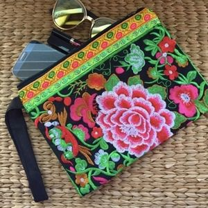 Pink Pua Blossoms Embroidered Clutch Wristlet